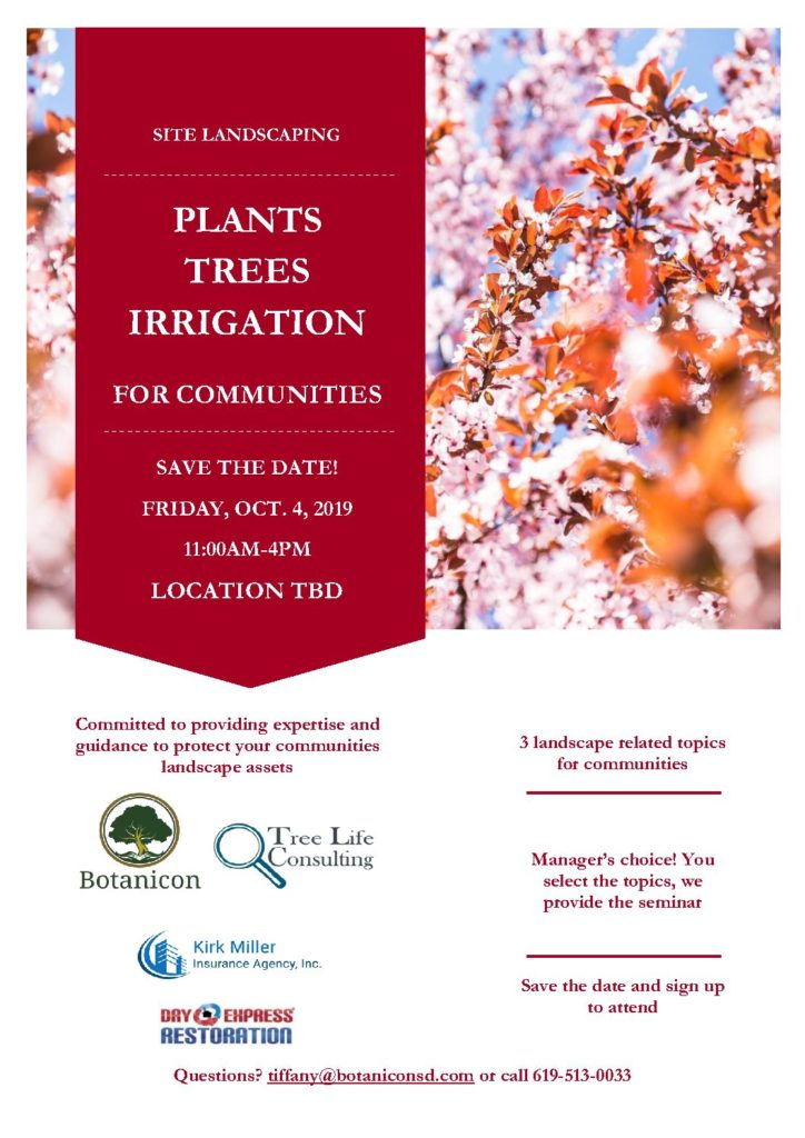 Landscape Seminar October 4, 2019 for Property Managers, Board Members, Developer and Municipal Land Managers
